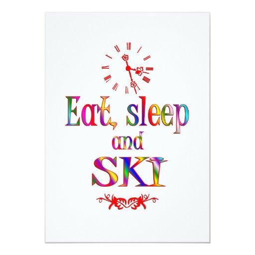 Eat, Sleep and Ski 5x7 Paper Invitation Card