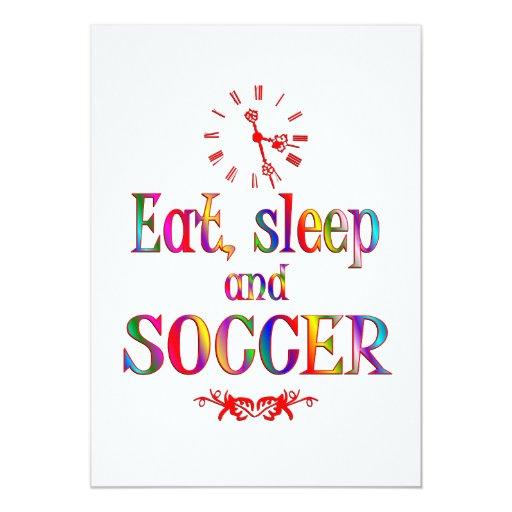 Eat, Sleep and Soccer Custom Invitation