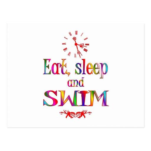 Eat, Sleep and Swim Postcard