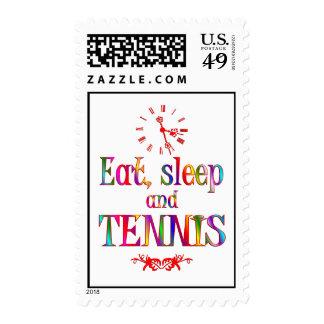 Eat, Sleep and Tennis Postage Stamps