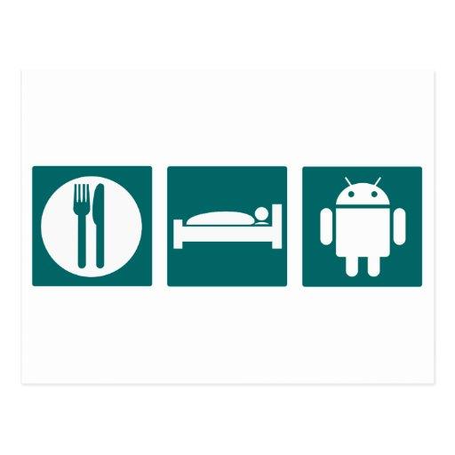 Eat Sleep Android Postcard
