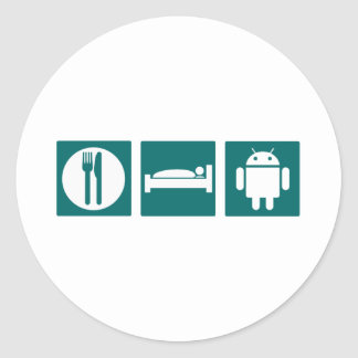 Eat Sleep Android Round Sticker