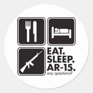 Eat Sleep AR-15 - Black Classic Round Sticker