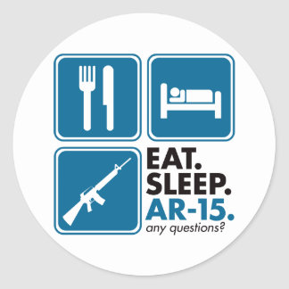 Eat Sleep AR-15 - Blue Classic Round Sticker
