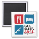 Eat Sleep AR-15 - Red and Blue 2 Inch Square Magnet