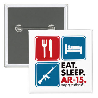 Eat Sleep AR-15 - Red and Blue 2 Inch Square Button