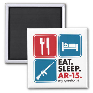 Eat Sleep AR-15 - Red and Blue Magnets