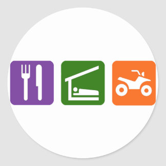 Eat Sleep ATV Classic Round Sticker