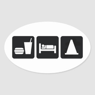 Eat Sleep AutoX Oval Sticker