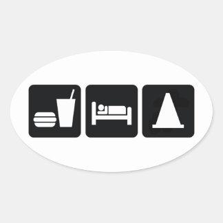 Eat Sleep AutoX Oval Sticker