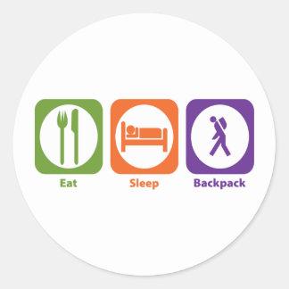 Eat Sleep Backpack Classic Round Sticker