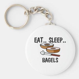 Eat Sleep BAGELS Keychain