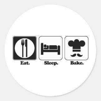 eat sleep bake round stickers