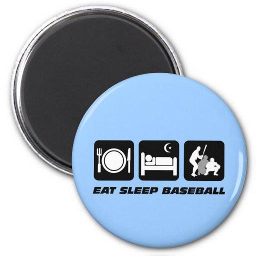 Eat sleep baseball 2 inch round magnet