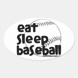 Eat Sleep Baseball 3 Oval Sticker