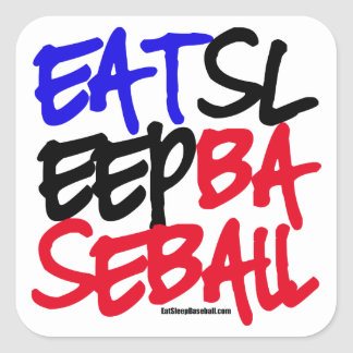 Eat Sleep Baseball 4 Square Sticker