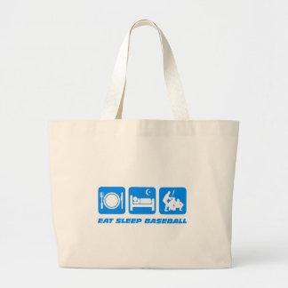 Eat sleep baseball canvas bag