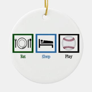 Eat Sleep Baseball Ceramic Ornament
