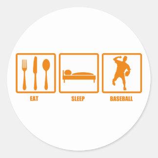 Eat Sleep Baseball Classic Round Sticker