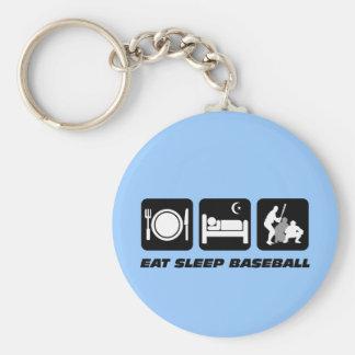 Eat sleep baseball key chains