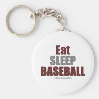 Eat sleep baseball key chain