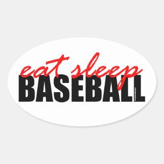 Eat Sleep Baseball Oval Sticker