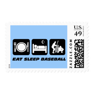 Eat sleep baseball postage stamp