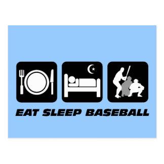 Eat sleep baseball postcards