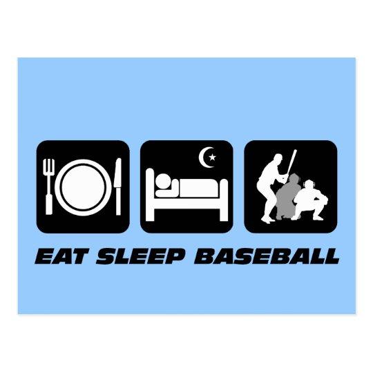 Eat sleep baseball postcard