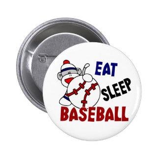 Eat Sleep Baseball Sock Monkey Button