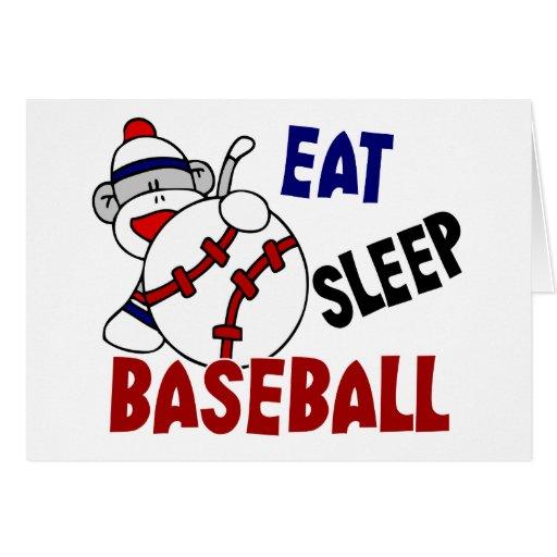 Eat Sleep Baseball Sock Monkey Greeting Card
