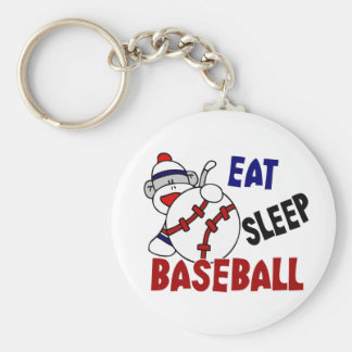 Eat Sleep Baseball Sock Monkey Keychain