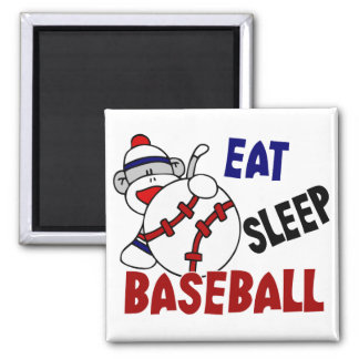 Eat Sleep Baseball Sock Monkey 2 Inch Square Magnet
