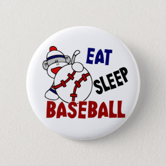 Eat Sleep Baseball Sock Monkey Pinback Button