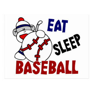 Eat Sleep Baseball Sock Monkey Postcard