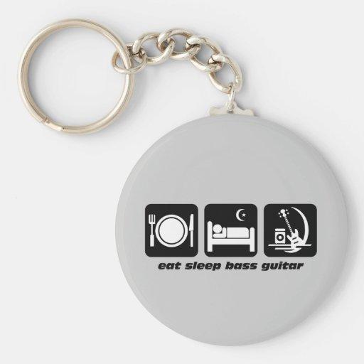 eat sleep bass guitar keychains
