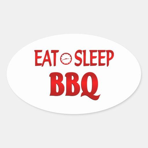 Eat Sleep BBQ Oval Stickers