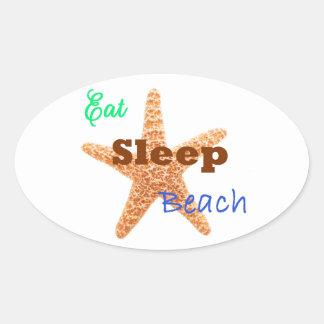 Eat Sleep Beach - Oval Sticker