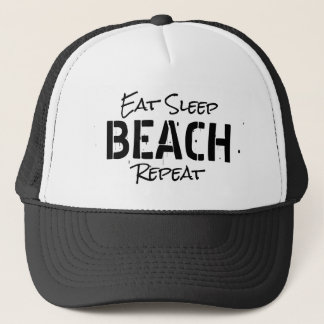 EAT SLEEP BEACH REPEAT vintage party trucker hat