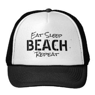 EAT SLEEP BEACH REPEAT vintage party trucker hat
