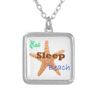 Eat Sleep Beach - Square Necklace