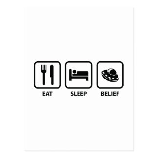 Eat Sleep Belief Postcard