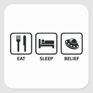 Eat Sleep Belief Square Sticker