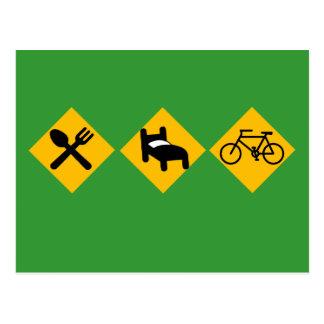Eat Sleep Bicycle Road Signs Postcard