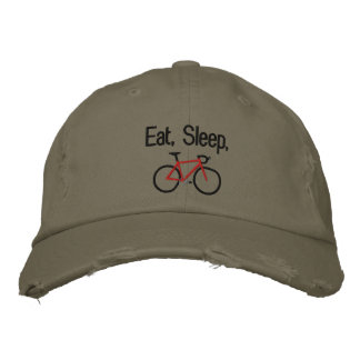 Eat, Sleep, Bike Embroidered Baseball Hat