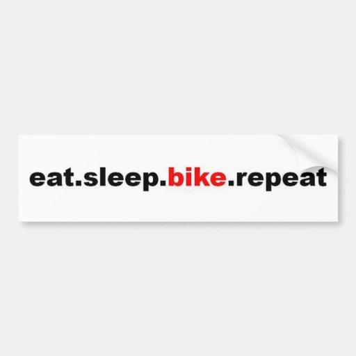 eat sleep bike repeat bumper sticker