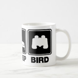 Classic White Mug with Eat Sleep Bird (binoculars) design