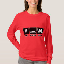 Women's Basic Long Sleeve T-Shirt with Eat Sleep Bird (binoculars) design