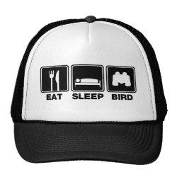 Trucker Hat with Eat Sleep Bird (binoculars) design