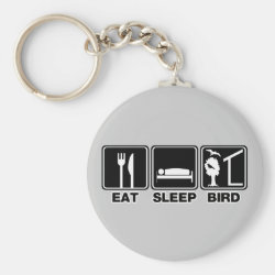 Basic Button Keychain with Eat Sleep Bird (blind) design